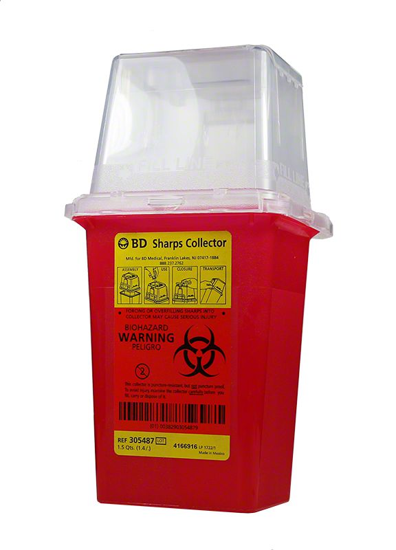 BD Nestable Sharps Container 1.5 Quarts Red