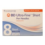 BD Ultra-Fine Short Pen Needles 5/16 inch 31 Gauge - Box of 90 thumbnail