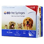 "BD U-40 Pet Syringes 29G, 1/2cc, 1/2"" - Half Unit Markings 100ct thumbnail"