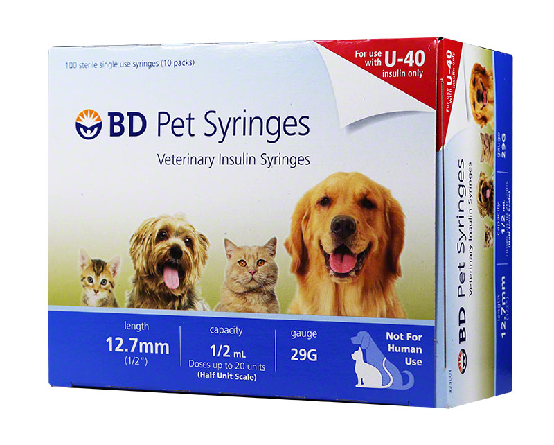 BD U-40 Pet Syringes 29G, 1/2cc, 1/2 inch - Half Unit Markings 100ct