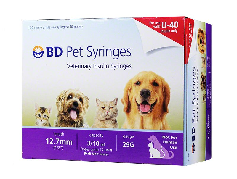 BD U-40 Pet Syringes 29G half unit markings box 100