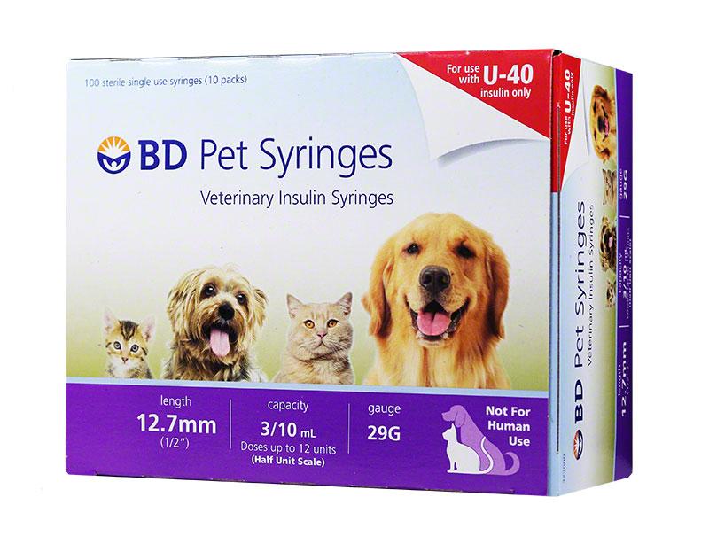 BD U-40 Pet Syringes 29G 3/10cc 1/2