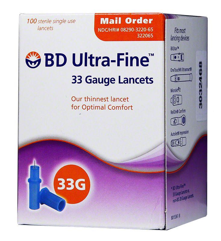 BD Ultra-Fine 33 Gauge  Lancets Box of 100