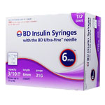 BD Ultra-Fine Half Unit Insulin Syringes 31G 3/10cc 6mm Case of 5