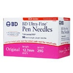 BD Ultra-Fine Insulin Pen Needles 29g 1/2in 90/bx - Case of 12