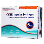 BD Ultra-Fine Insulin Syringes 31G 1cc 6mm 90/bx