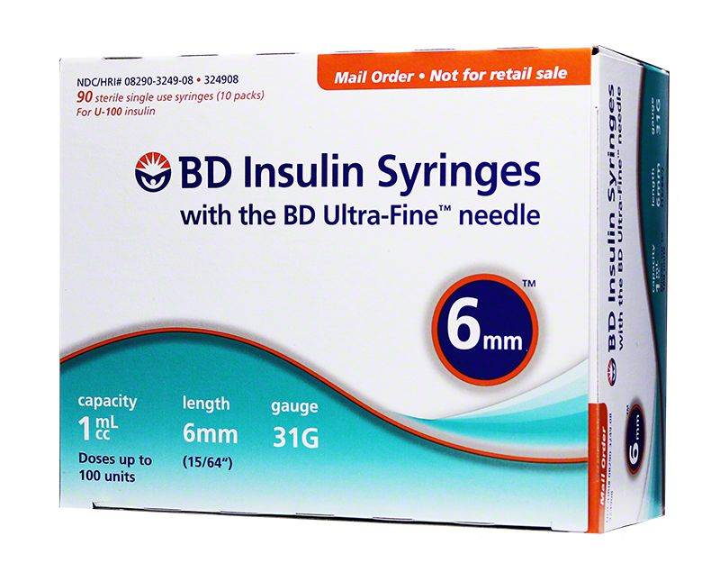 BD Ultra-Fine Insulin Syringes 31G 1cc 6mm 90ct - Case of 5