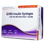 BD Ultra-Fine Insulin Syringes 30g 3/10cc 1/2in 90/bx Case of 5