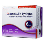 BD Ultra-Fine Insulin Syringes 31G 3/10cc 6mm 90/bx