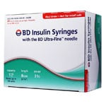 BD Ultra-Fine Insulin Syringes Short Needle 31g 1cc 5/16in 90/bx Case of 5 thumbnail