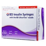 BD Ultra Fine U-100 Insulin Syringes 31G 8mm 90 Count