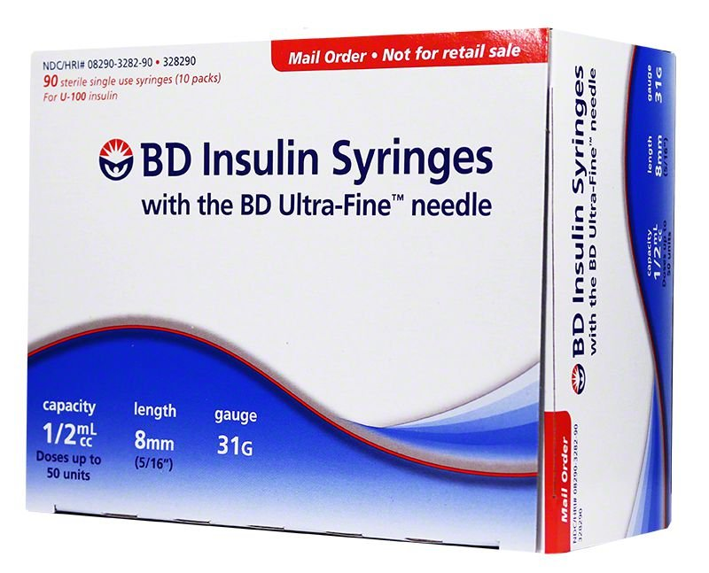 BD Ultra-Fine Insulin Syringes Short Needle 31g 1/2cc 5/16