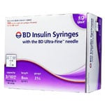 BD U-100 Insulin Syringes 31g 8mm 3/10cc 1/2 unit markings 100/bx 5-Case