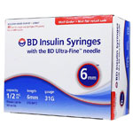 BD Ultra-Fine Insulin Syringes 31G 1/2cc 6mm 90/bx