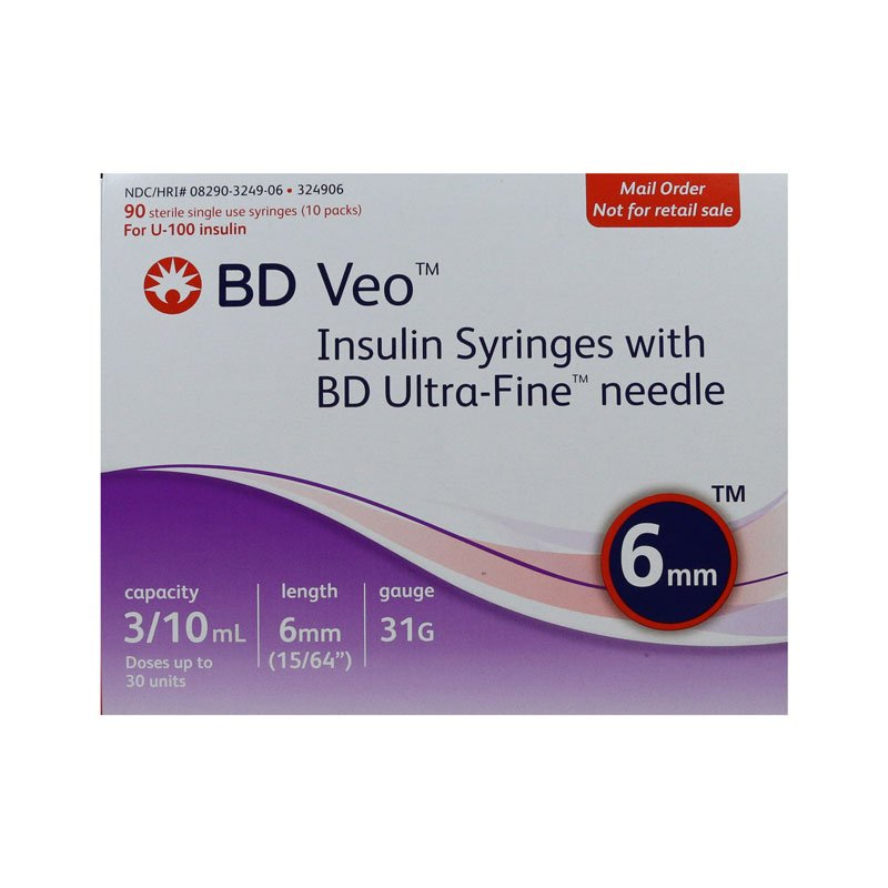 BD Veo U-100 Syringes 31g 3/10cc 6mm Case of 5 Boxes