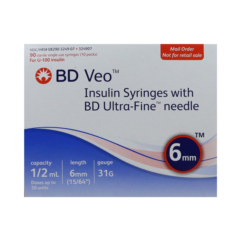 BD Veo Syringes 31g 1/2cc 6mm 90 Count
