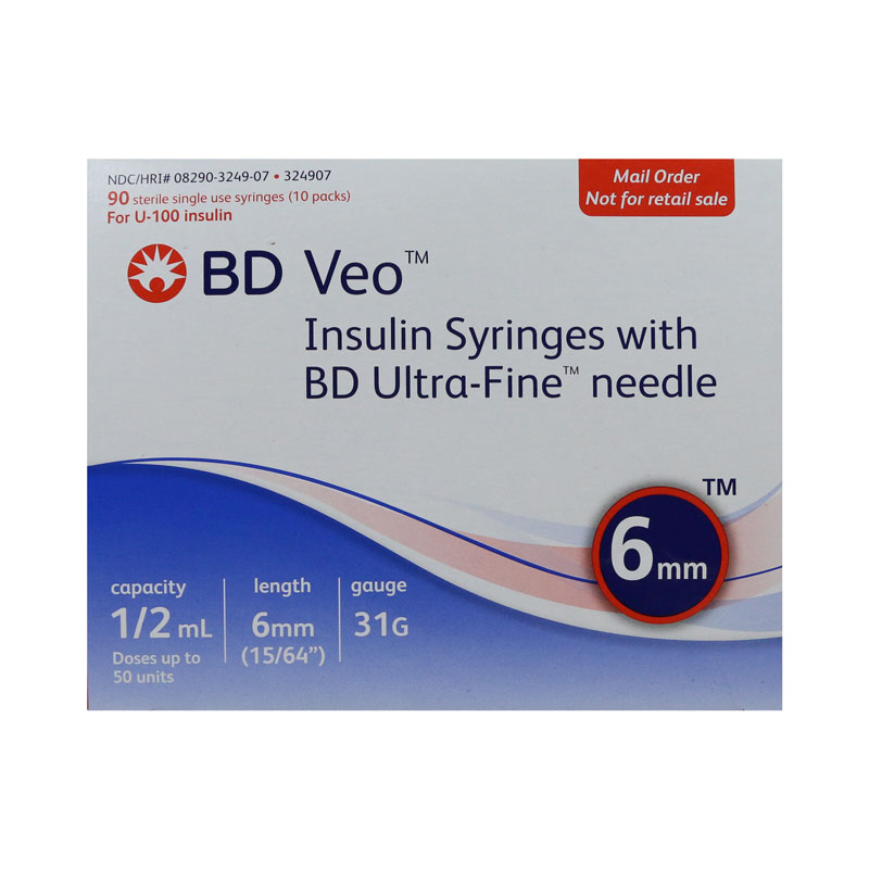BD Veo Syringes 31g 1/2cc 6mm Case of 5 Boxes
