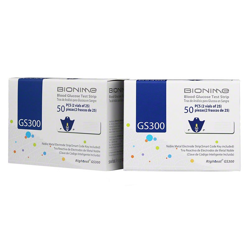 Bionime Rightest GS300 Blood Glucose Test Strips Case of 12