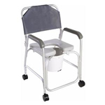 Cardinal Health 10 Qt Aluminum Commode Shower Chair with Back thumbnail