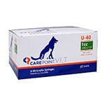 "CarePoint Vet U-40 Pet Syringe 29G 1cc 1/2"" 500 Count thumbnail"