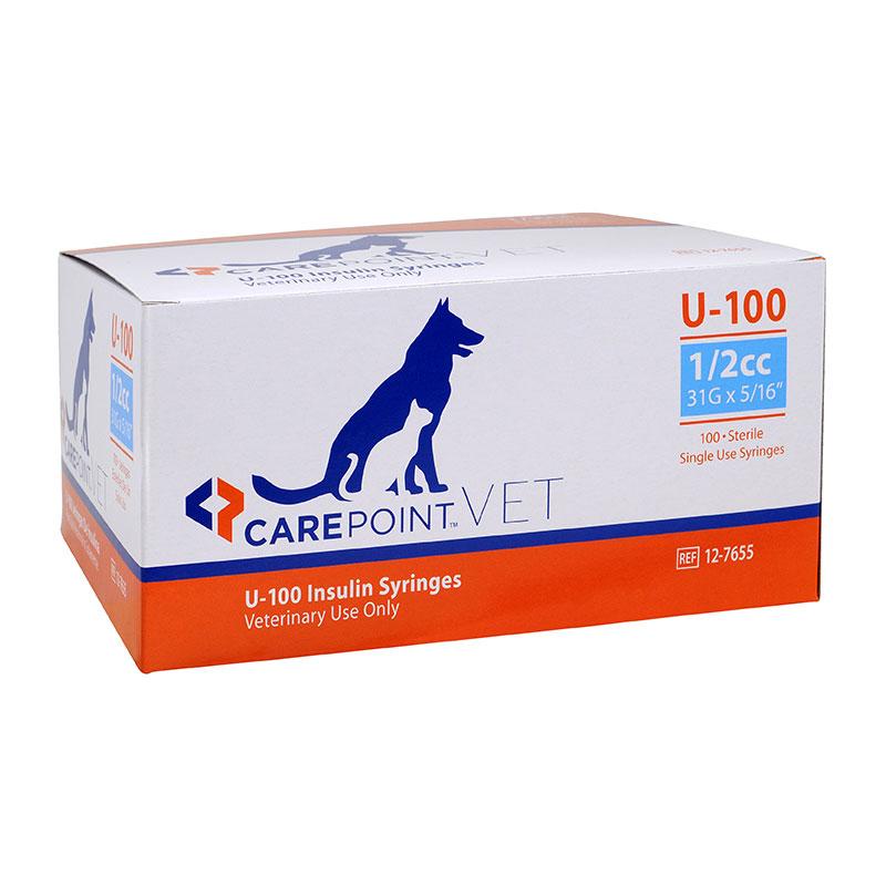 CarePoint Vet U-100 Pet Syringe 31G 1/2cc 5/16 inch 100/bx