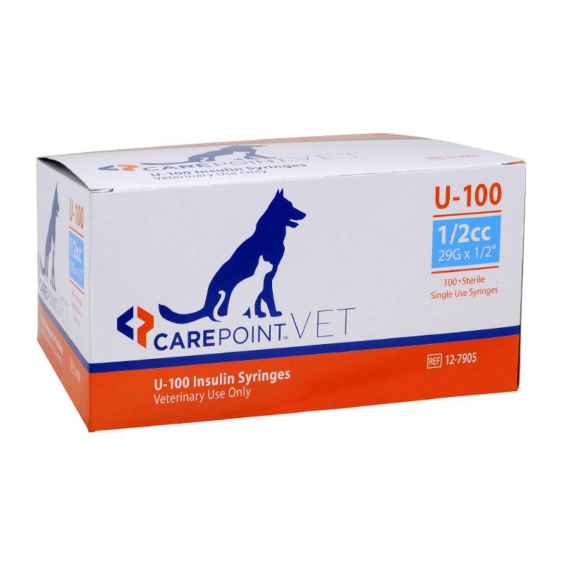 CarePoint Vet U-100 Pet Syringe 28G 1/2cc 1/2 inch 500 Count