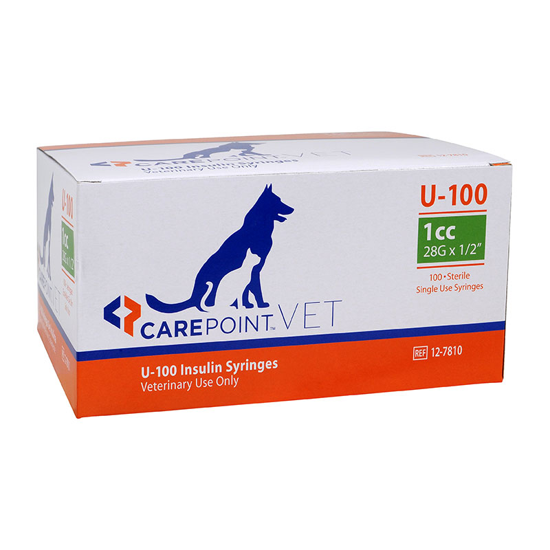 CarePoint Vet U-100 Pet Syringe 28G 1cc 1/2 inch 500 Count