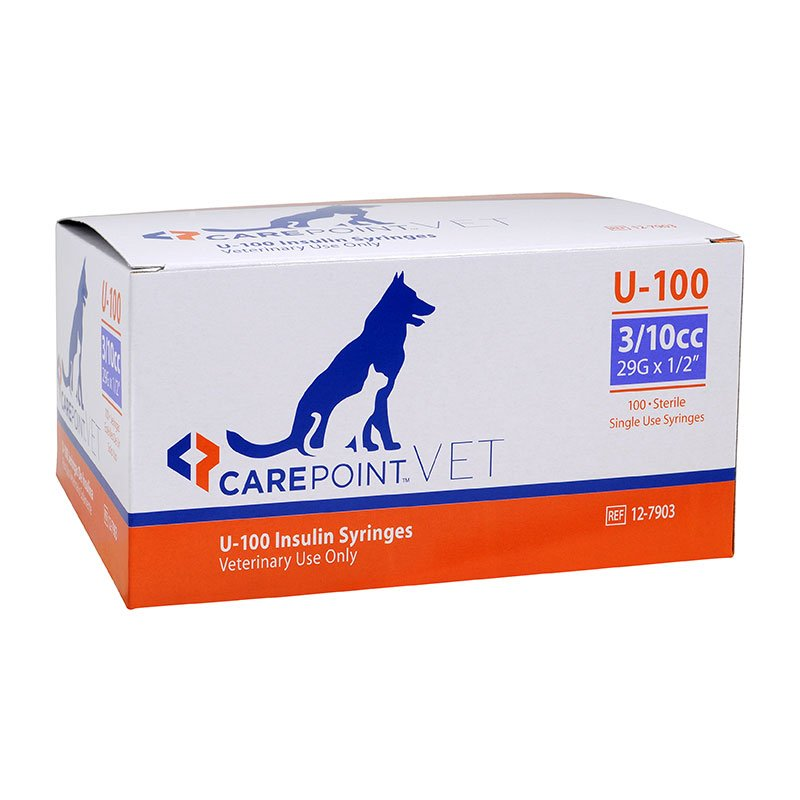 CarePoint Vet U-100 Pet Syringe 29G 3/10cc 1/2 inch 500 Count