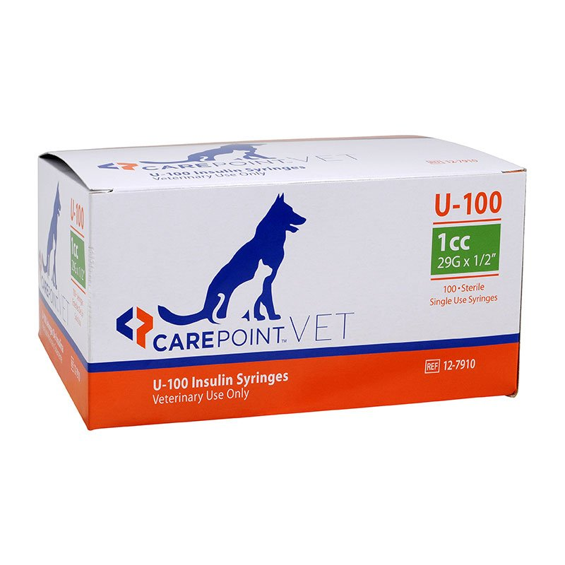 CarePoint Vet U-100 Pet Syringe 29G 1cc 1/2 inch 500 Count