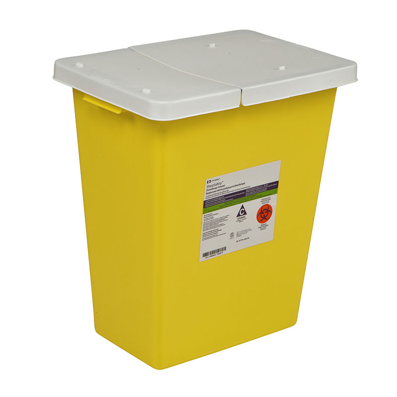 SharpSafety Chemotherapy Container 12 Gallon, Hinged Lid - Yellow