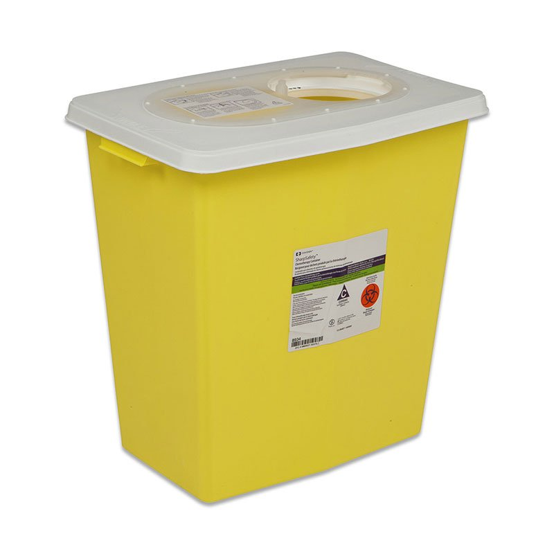 SharpSafety Chemotherapy Container 18 Gallon, Side Lid Yellow - 5ct