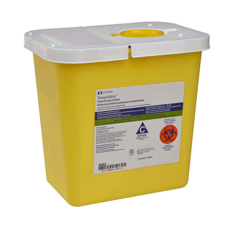 SharpSafety Chemotherapy Container 2 Gallon, Hinged Lid - Yellow