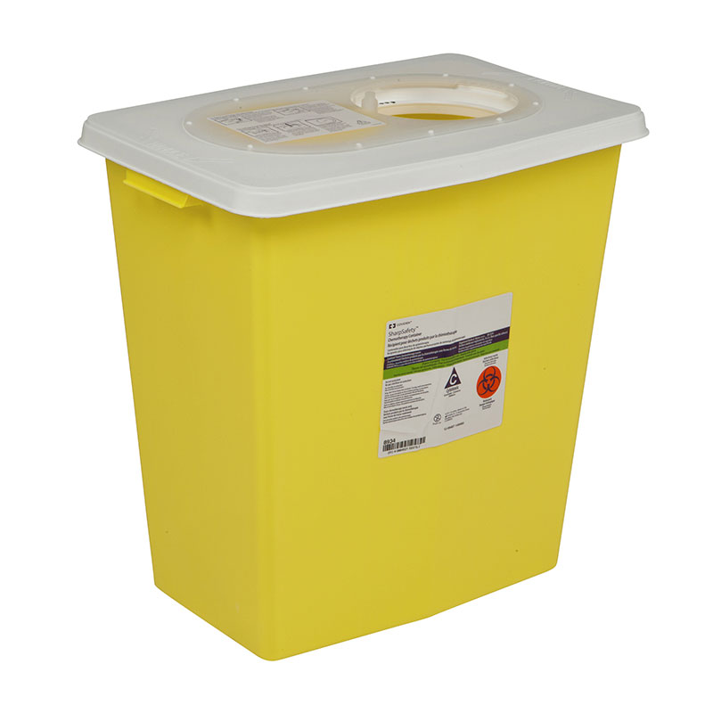 SharpSafety Chemotherapy Container 8 Gallon, Hinged Lid Yellow - 10ct