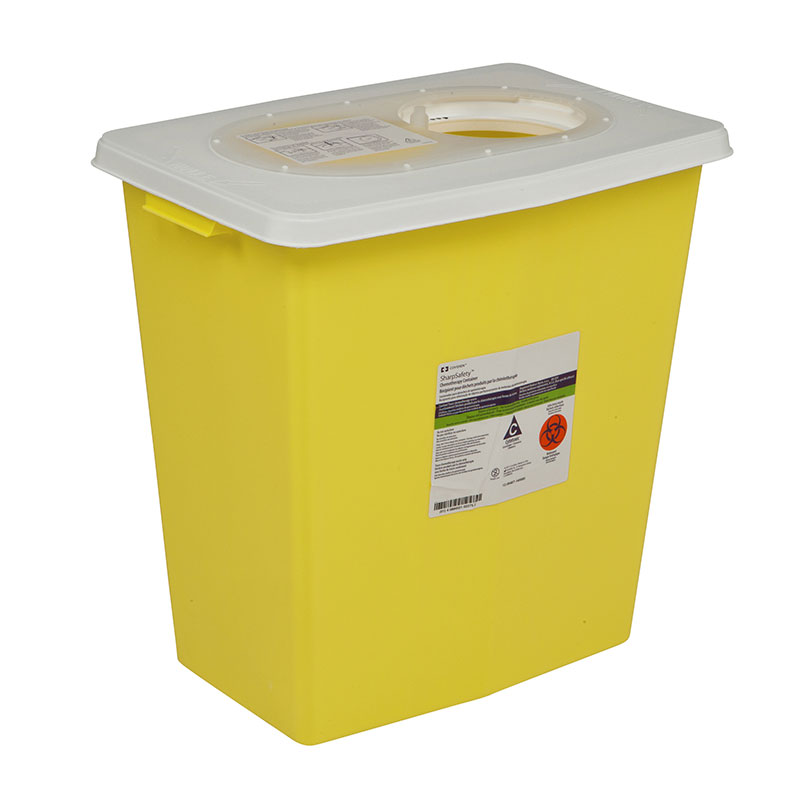 SharpSafety Chemotherapy Container 8 Gallon, Side Lid Yellow - 10ct