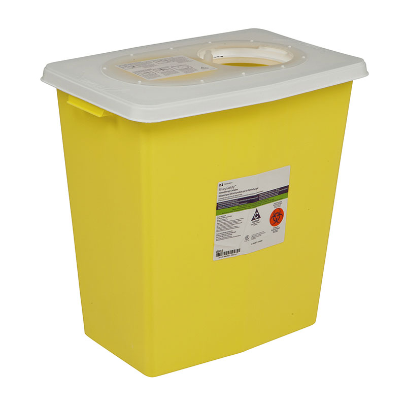 Chemotherapy Container PGII, Sliding Lid, 8 Gallon - Yellow