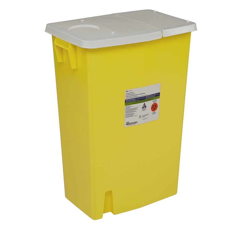 Chemotherapy Container PGII, Hinged Lid, 18 Gallon - Yellow