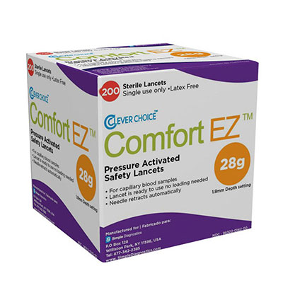 Clever Choice Comfort EZ 28G Safety Lancets 1.8mm 100/box