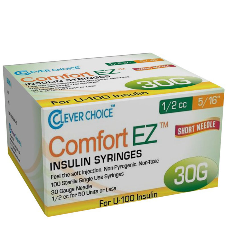 Clever Choice Comfort EZ Insulin Syringes 30G 1/2 cc 5/16