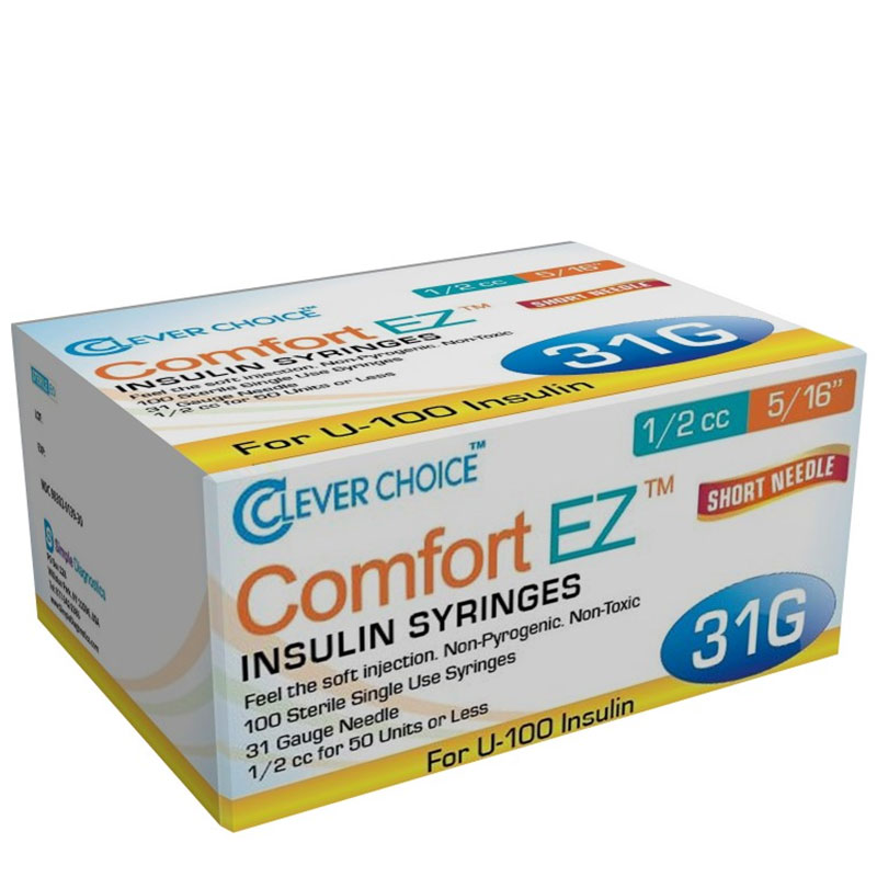 Clever Choice Comfort EZ Insulin Syringes 31G 1/2cc 5/16
