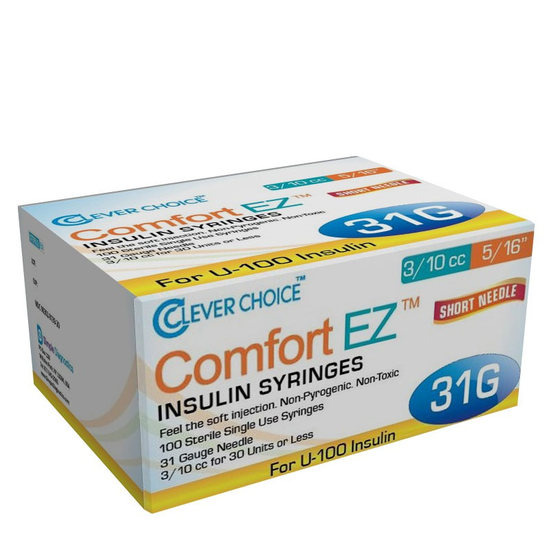 Clever Choice Comfort EZ Insulin Syringes 31G 3/10cc 5/16