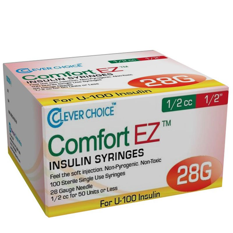 Clever Choice Comfort EZ Insulin Syringes 28G 1/2 cc 1/2 inch Case of 5 Boxes