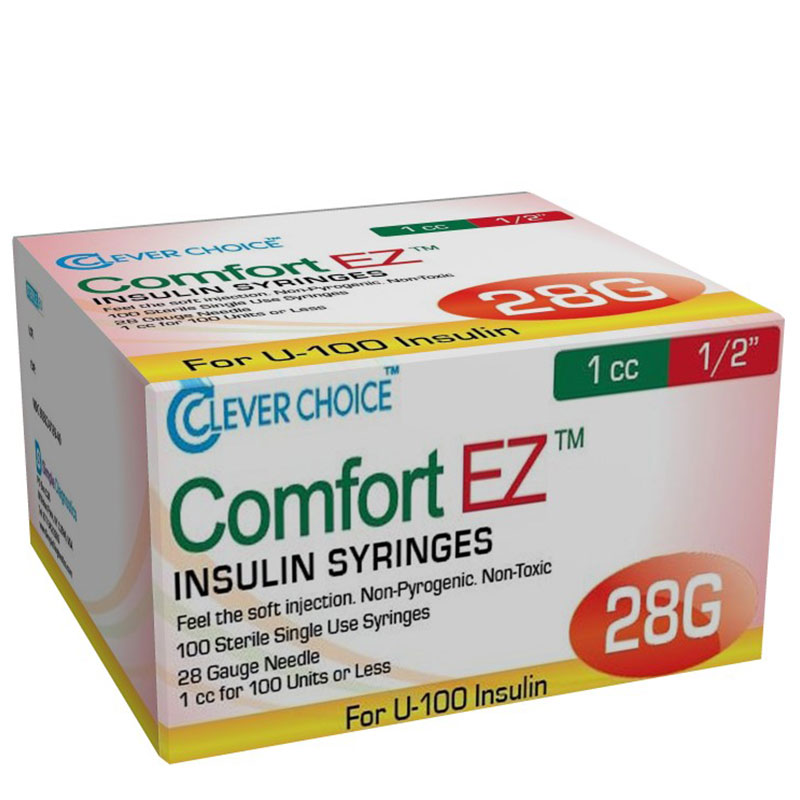 Clever Choice Comfort EZ Insulin Syringes 28G 1 cc 1/2