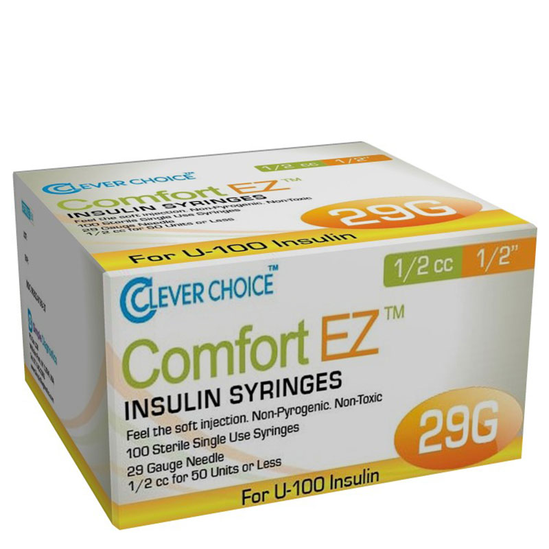 Clever Choice Comfort EZ Insulin Syringes 29G 1/2 cc 1/2 inch Case of 5 Boxes