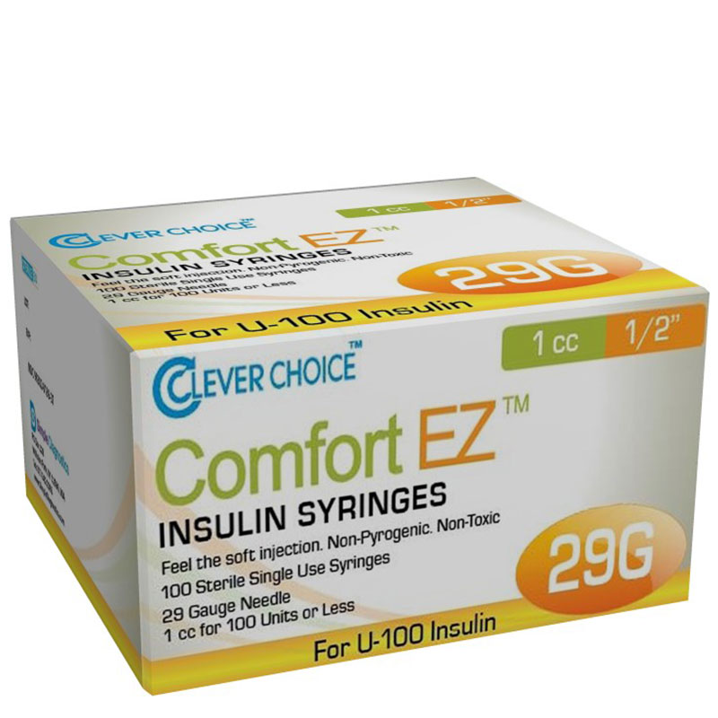 Clever Choice Comfort EZ Insulin Syringes 29G 1 cc 1/2 inch Case of 5 Boxes