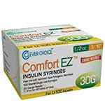 "Clever Choice Comfort EZ Insulin Syringes 30G 1/2 cc 5/16"" 100/bx thumbnail"