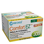 "Clever Choice Comfort EZ Insulin Syringes 30G 1 cc 5/16"" 100/bx thumbnail"