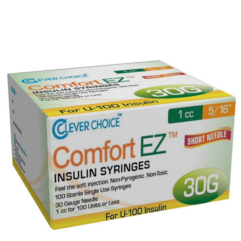 Clever Choice Comfort EZ Insulin Syringes 30G 1 cc 5/16 inch Case of 5