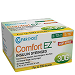 "Clever Choice Comfort EZ Insulin Syringes 30G 3/10 cc 5/16"" 100/bx thumbnail"