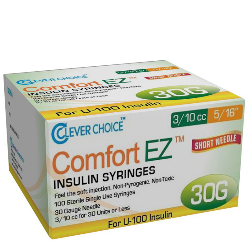 Clever Choice Comfort EZ Insulin Syringes 30G 3/10 cc 5/16