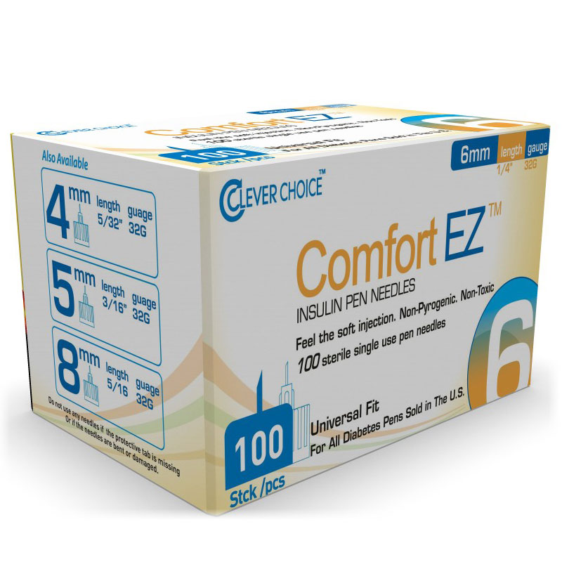 Clever Choice ComfortEZ Insulin Pen Needles 32G, 6mm - Pack of 6